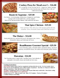 Specialty Pizza | Eat in | Take out | Pizza | Route 66 Road Runner