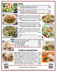 Salads | Wraps | Route 66 Road Runner | Eat in | Take out | Caesar | Greek | Chicken