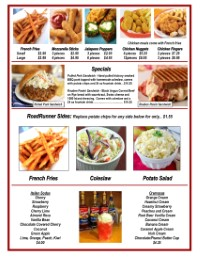Greaseless Fried Food | Fries | French Fries | Chicken | Cheese Sticks | Route 66 Road Runner | Eat in | Take out